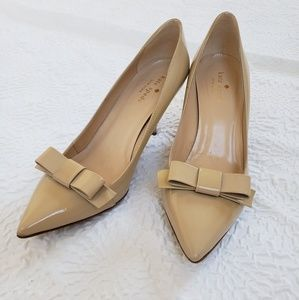 Kate Spade Nude Patent Leather Bow Pumps
